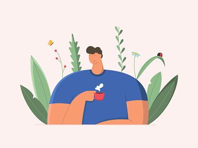 but first coffee ! web design app ui flat illustration design vector illustration