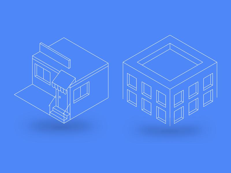 Store building university ui design isometric icons windows stair store shop
