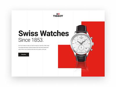 Daily UI 003 - Landing Page watch ui webdesign black white red swiss tissot dailyui landingpage watch