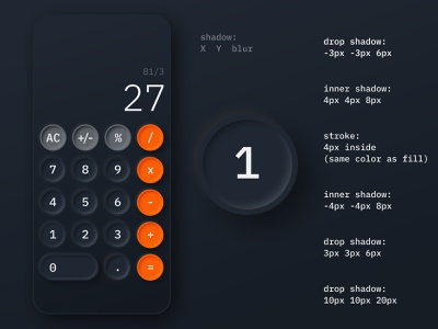 Daily UI 004 - Calculator daily 100 challenge ios mobile orange black darkmode calculator dailyui
