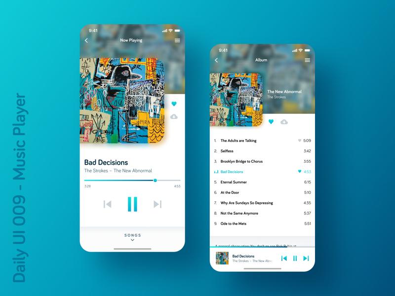 Daily UI 009 - Music Player mobile music app blue ios app design musicplayer dailyui009 dailyui