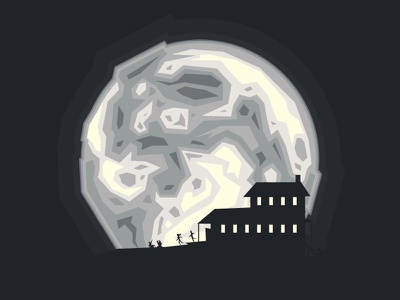 Supermoon night monochrome minimal art vector illustration astronomy lunar moon