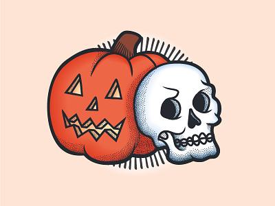 Jack and Skull vintage retro american traditional tattoo jack o lantern illustration stipple skull pumpkin halloween
