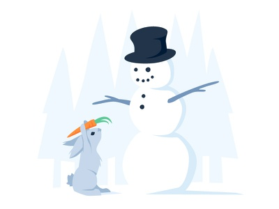 Sharing with a Snowman giving blue snow christmas december snowball carrot snowman rabbit winter