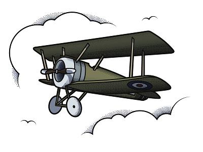 Prop plane sky free flight green illustration texture stipple tattoo plane