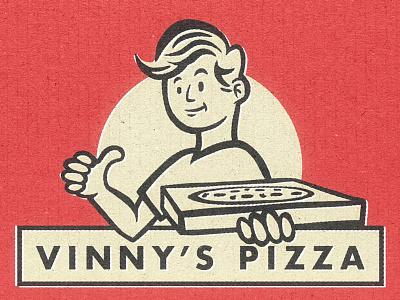 Vinny's Pizza print retro red food pepperoni delivery design box pizza stickermule