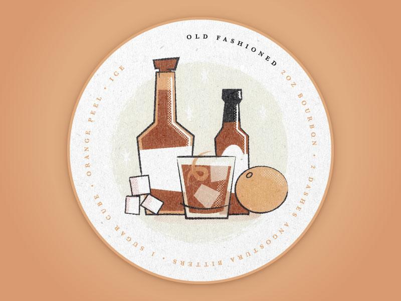 Old Fashioned Coaster baskerville design illustration coaster bar whiskey matchbox vintage cocktail old fashioned bourbon orange