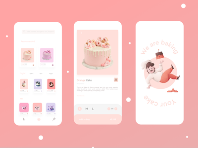 Sweet App animation mobile phone pink cake graphic design ui illustration flower design colors branding brand app 3d
