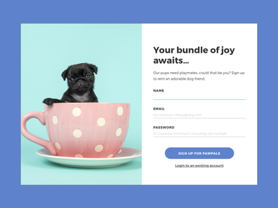 Daily UI 001: Sign Up Page sign up daily ui pal paw dog signup ui