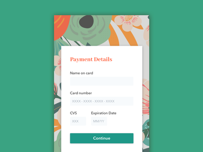 Daily UI 002: Payment credit card foliage flower payment daily ui