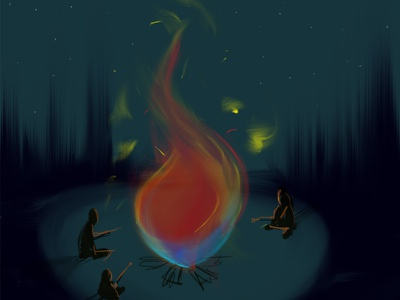 Campfire smores camping bonfire mood color spit paint photoshop
