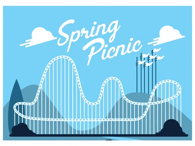 Spring Picnic  illustration t shirt design vector flag analogous blue roller coaster six flags work in progress