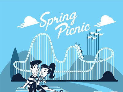 Spring Picnic  six flags screen printing print design illustration cartoon kid roller coaster vector mod picnic spring blue