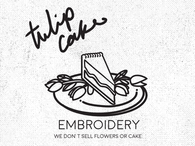 Tulip Cake Identity atl atlanta sarcasm hand writing black and white plate cake tulip fun