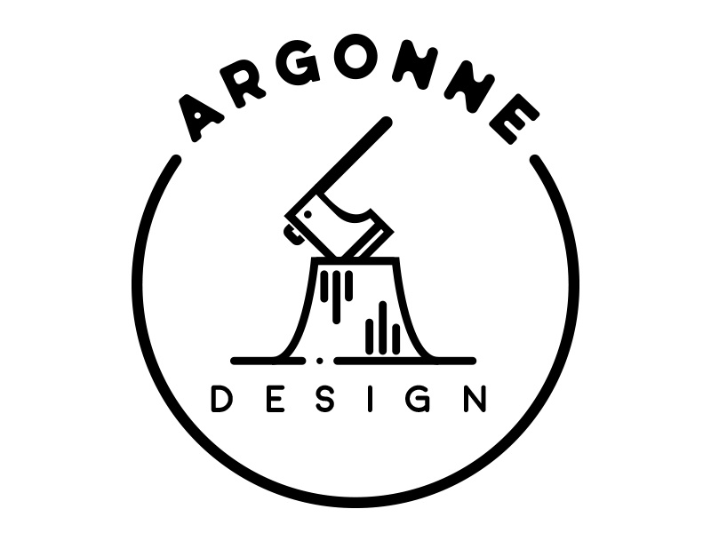 Argonne Design Logo logo minimal circle white black axe logs