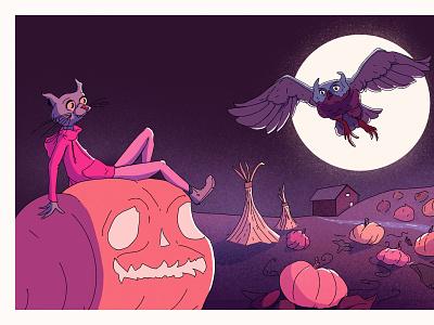 Fall Postcard Illustration illustration