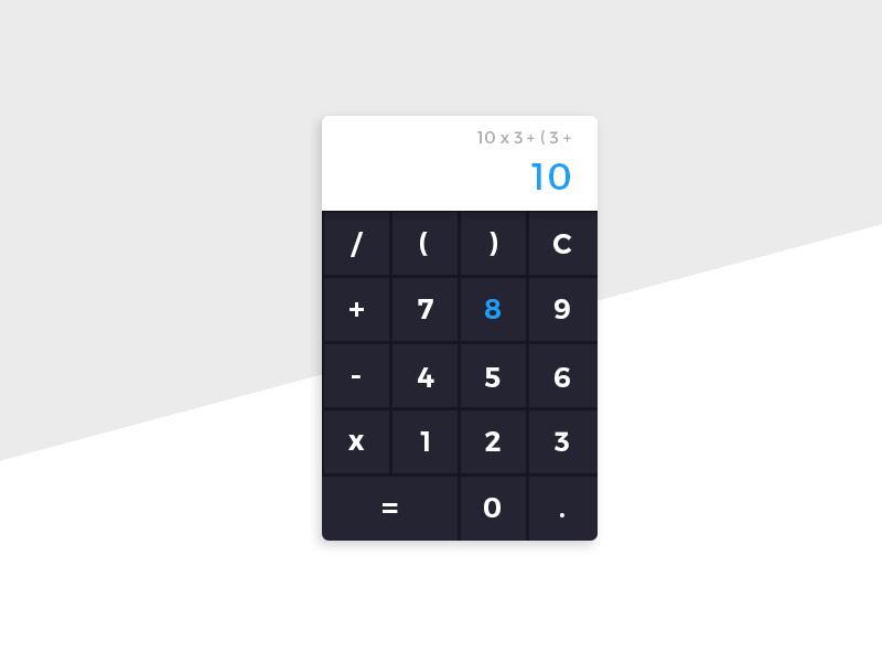Daily UI #4 - Simple Calculator blue black black and white app minimalistic daily ui daily ui calculator