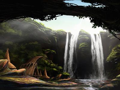 Edge of the waterfall art dailydesignchallenge background design design digital art concept art illustration