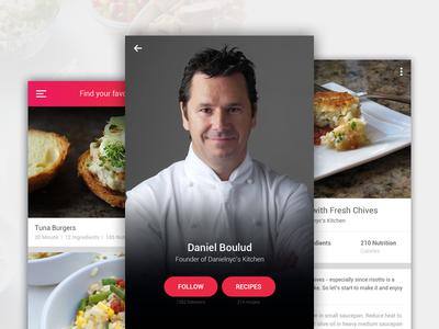Recipe App Concept food design android ios flat ux ui app mobile recipe