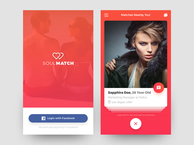 SoulMatch Dating App profile mobile android ios mobileapp love dating ux ui