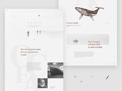 Ocean - landing page landing page website layout desktop typography design web concept ux ui