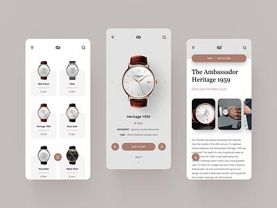 Watch Shop UI #1 layout design clean shop fashion minimal ecommerce add to cart app concept ux ui