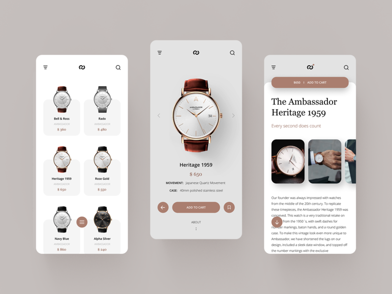 Watch Shop UI #1 layout design clean shop fashion minimal ecommerce add to cart app concept ux ui