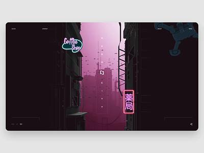 MegaCity - Scrolling animation motion cyberpunk illustration website desktop design layout animation web concept ux ui