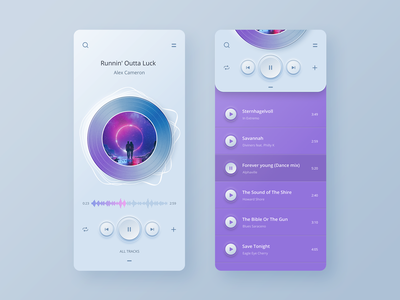 Player app UI concept ios mobile player skeuomorph app design layout concept ux ui