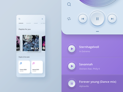 Player app UI concept ios mobile player skeuomorph app design layout concept ux ui
