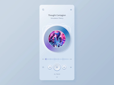 Player app UI animation neomorphism skeuomorph mobile app design layout animation concept ux ui