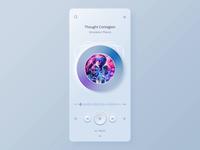 Player app UI animation neomorphism skeuomorph mobile app design layout animation concept ux ui