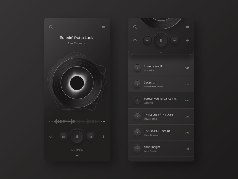 Neumorphed player app night version concept.