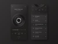 Player app UI Night version mobile ios neomorphism skeuomorph app design layout concept ux ui