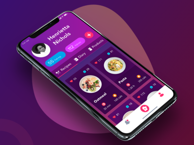 User profile purple pasta cards iphone x kitchen food recipes diary products cooking app profile