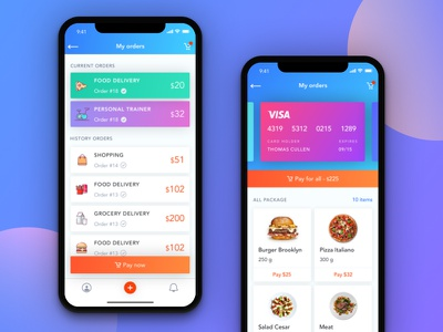 List of orders ux ui dish visa delivery app shopping order banking payment delivery