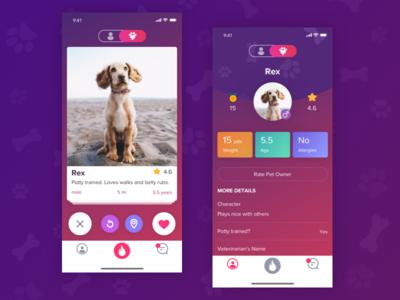 App for pets swipe mobile ux ui app cards pets tinder share profile
