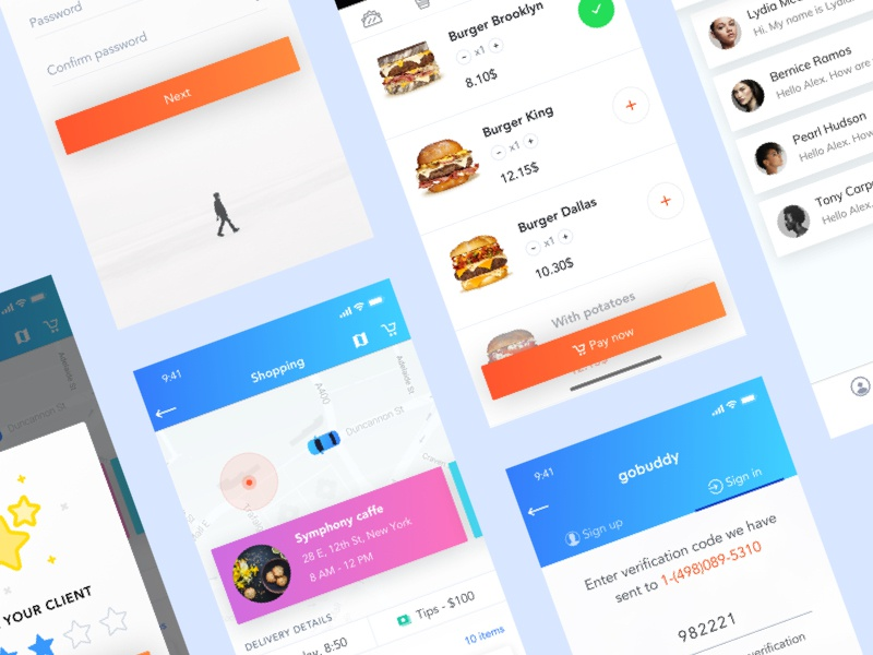 Delivery app ui payment behance clean interaction ios profile delivery dribbble blue application app
