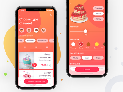 Cake making app gradient red shop store ui ios product sweet list illustrations birthday taste food dessert cook cakes cake