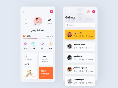 Fitness app fitness app mobile illustration interface iphone x level activity ios app ux training yoga search contacts account profile rating sport workout fitness
