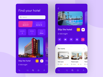 Booking the room rent real estate purple room rent home rent gradient navigation mobile app ux ui ios hotel home location ordering search mobile apartment booking airbnb
