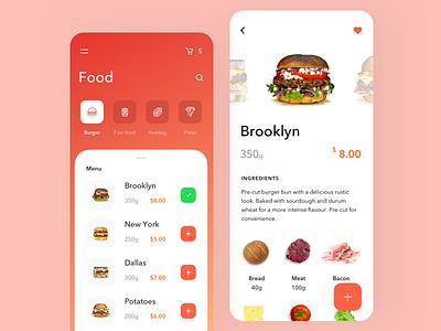 Delivery food design clean interface menu order list mobile app design restaurant food delivery app cafe food app graphics food delivery button burger app
