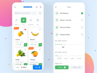 App for online grocery order ui design grocery delivery app delivery delivery food catalog orders filter food app food products mobile interface ios product market