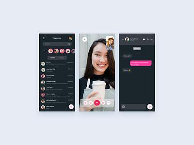 Messenger Apps freebies gradient dark mode app design mobile app design mobile app uiux clean ui minimalist ux interface design ui