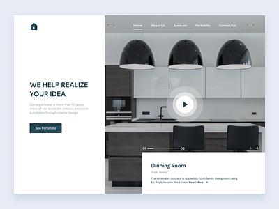Hero Section - Interior Website room website website interior website graphic design interior branding ux ui minimalist interface design