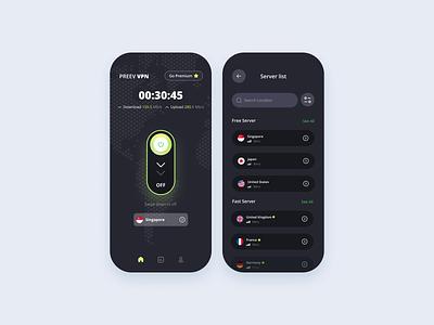 Freebies Preev VPN App app vpn mobile vpn clean dark mode mobile app app vpn mobile ui ux interface minimalist design