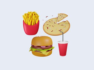 3D Modeling Junk Food graphic design branding pizza burger junk food food illustration ilustra asset minimalist design modeling 3d
