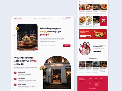 Shake Shack - Food Landing Page red resto landingpage food food landingpage webdesign website clean ui ux ui interface minimalist design