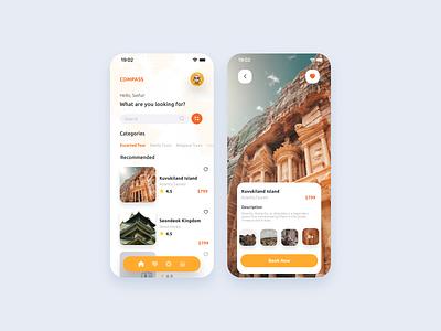 Tour App app design mobile tour app travel app travel mobile app clean ui ux ui interface minimalist design