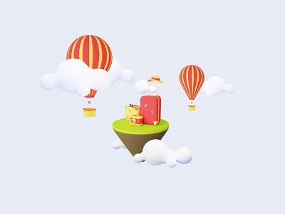 3D Sky Trip design blender lowpoly 3d modelling travel minimalist clean 3d model landing page yellow trip illustration 3dicon icon 3d